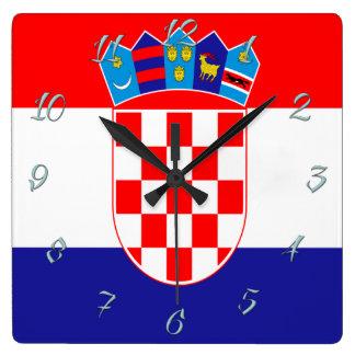 Kroatische vlag vierkante klok
