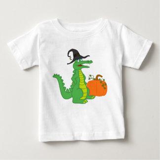 Krokodille Heks met de Pompoen van Halloween Baby T Shirts