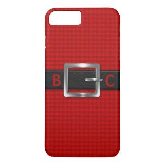 Kromgetrokken Zwarte band met monogram op Rode iPhone 7 Plus Hoesje