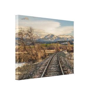 Kromme in de Sporen - de Sporen van de Spoorweg - Canvas Afdruk