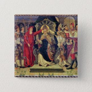 Kroning van Paus Celestine V in Augustus 1294 Vierkante Button 5,1 Cm