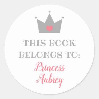 Kroon | van de prinses Dit Boek behoort tot Ronde Sticker