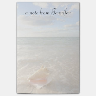 Kroonslak Shell in Zand op Tropisch Strand Post-it® Notes