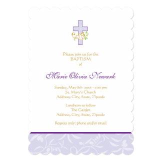 Kruis en Duif | de Paarse Uitnodiging van het 12,7x17,8 Uitnodiging Kaart