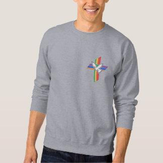 Kruis van Vrede met duif en regenboog Geborduurde Sweater