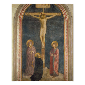 Kruisiging met Virgin, SS. John Evangeli Poster