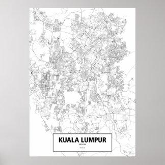 Kuala Lumpur, zwart Maleisië (op wit, douane) Poster