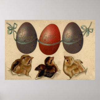 Kuiken van Pasen kleurde Verfraaid Geschilderd Ei Poster