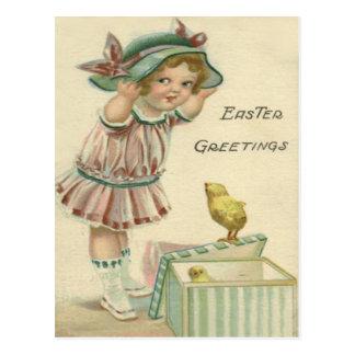 Kuiken van Pasen van het Victoriaans Meisje het Briefkaart