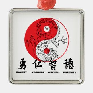 Kungfu Zilverkleurig Vierkant Ornament