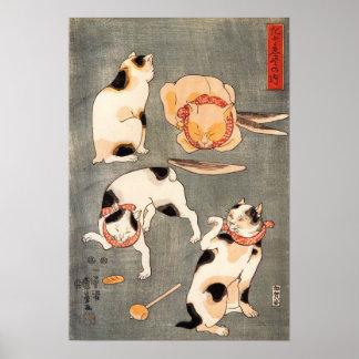 Kuniyoshi Vier het Poster van Katten