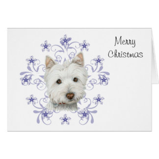 Kunst van de Hond Westie van Kerstmis de Leuke en Briefkaarten 0