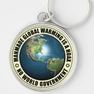 Kunstmatige Globale het Verwarmen Hoax Zilverkleurige Ronde Sleutelhanger