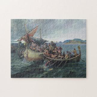 Kunstwerk van de Slag van vintage Viking het Zee Puzzel