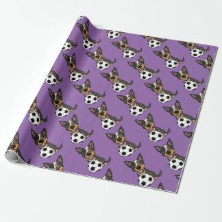 Kunstwerk van het Voetbal van de Hond van het Vee Inpakpapier