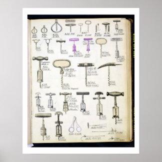 Kurketrekkers, van een handelscatalogus van binnen poster