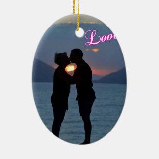 kus voorbij de zonsondergang keramisch ovaal ornament