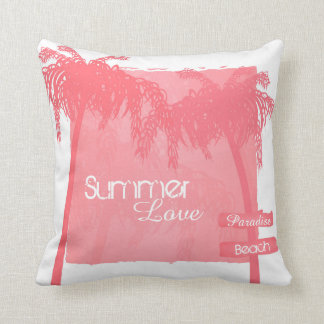 kussen zomer palmbomen roze