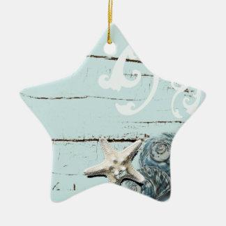 Kust blauwe de zeesterzeeschelpen van schuur keramisch ster ornament