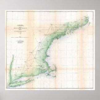Kust Kaart van New England (1864) - Beter TXT Poster