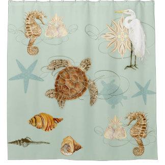 Kust Shells van de Schildpad van het Zee van Douchegordijn