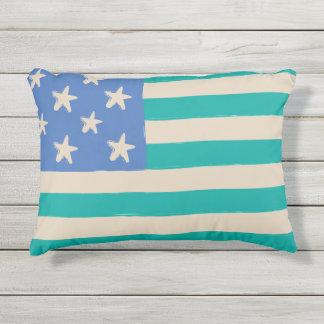 Kust vlag met zeester in blauw en blauwgroen buitenkussen
