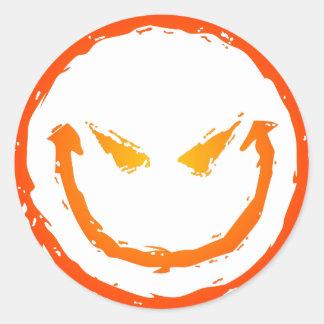 Kwaad Gezicht Smiley Ronde Sticker