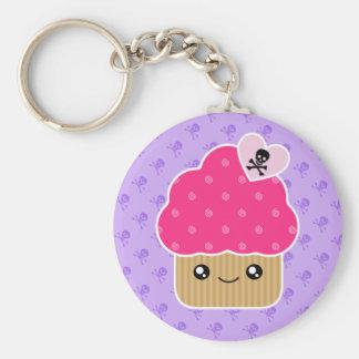 Kwade Leuke Cupcake van Dood Kawaii Keychain Basic Ronde Button Sleutelhanger
