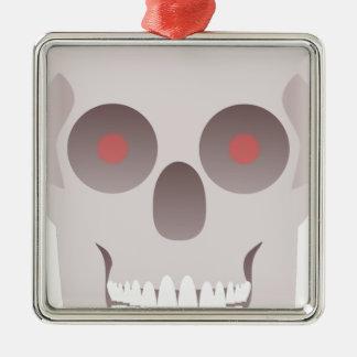 Kwade Schedel Zilverkleurig Vierkant Ornament