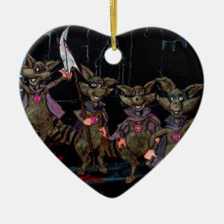 Kwade Wasberen Keramisch Hart Ornament