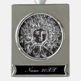 kwal van Gorgon van de vintage bord de Griekse Verzilverd Banner Ornament