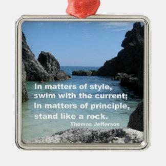 Kwesties van principe… zilverkleurig vierkant ornament