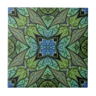 La Chanteuse V Groen en Blauw Abstract Patroon Keramisch Tegeltje