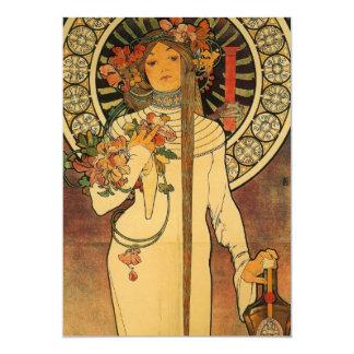 La Trappistine van Mucha 12,7x17,8 Uitnodiging Kaart