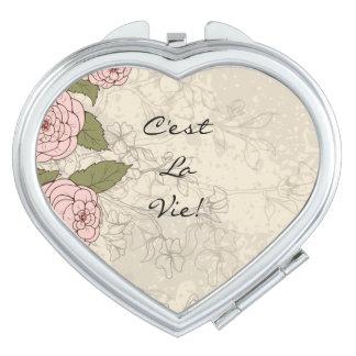 La Vie van C'est! De BloemenRozen van het Citaat Make-up Spiegeltje