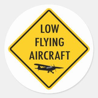 Laag Vliegend Vliegtuig - Verkeersteken Ronde Stickers