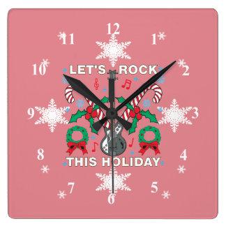 Laat de Lelijke Sweater van sneeuwvlokken Rots Vierkante Klok