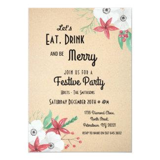 Laat Drank eten & Vrolijke Feestelijke Kerstmis Kaart