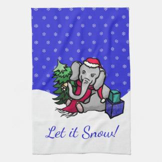 Laat het de Leuke sneeuwen Olifant van Kerstmis Theedoek