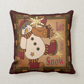Laat het Decoratieve sneeuwen Vintage Sneeuwman Sierkussen