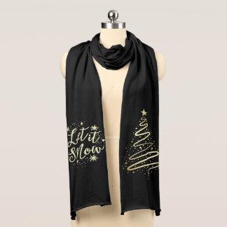 Laat het Gouden sneeuwen Moderne Kerstboom Sjaal