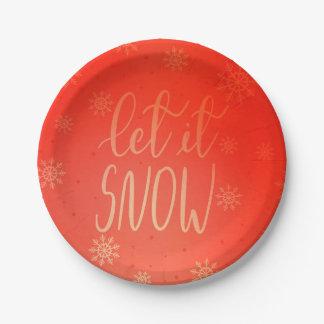 Laat het het Met de hand geschreven sneeuwen Papieren Bordje