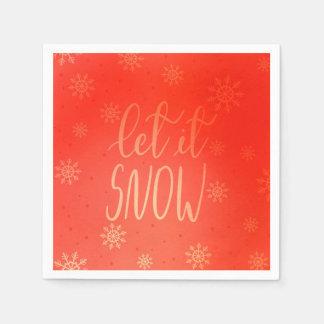 Laat het het Met de hand geschreven sneeuwen Wegwerp Servetten