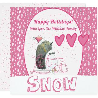 Laat het sneeuwen   Leuke Kerstmis van de Pinguïn Kaart
