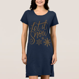 Laat het sneeuwen Sneeuwvlokken in Gouden Faux Shirt