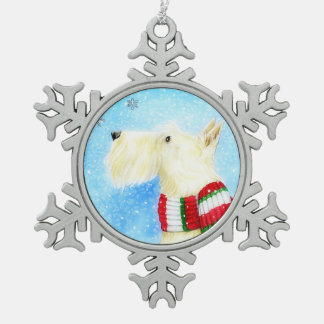 Laat het Wheaten sneeuwen Scottie Tin Sneeuwvlok Ornament