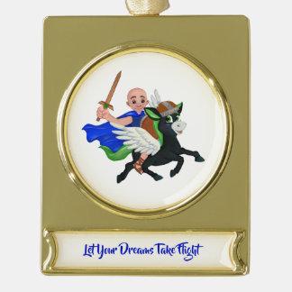 Laat Uw Dromen de Leeuw van de Vlucht & het Verguld Banner Ornament