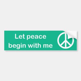 Laat Vrede met me bumper met sticker beginnen Bumpersticker