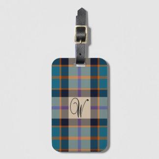 Label van de het geruite Schotse wollen stofbagage Bagagelabel