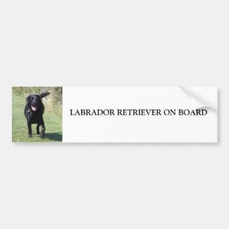 Labrador aan boord van zwarte hond, gift bumpersticker